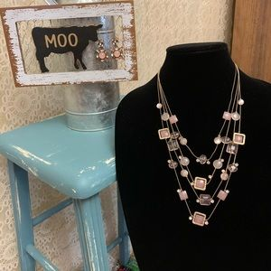 Glass Bead Necklace & Earring Set